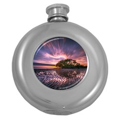 Landscape Reflection Waves Ripples Round Hip Flask (5 Oz) by Amaryn4rt