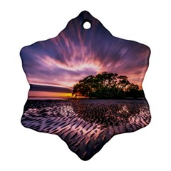 Landscape Reflection Waves Ripples Ornament (snowflake) by Amaryn4rt
