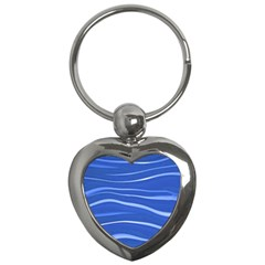 Lines Swinging Texture  Blue Background Key Chains (heart)  by Amaryn4rt