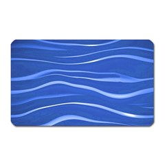 Lines Swinging Texture  Blue Background Magnet (rectangular) by Amaryn4rt