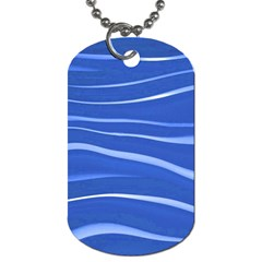 Lines Swinging Texture  Blue Background Dog Tag (one Side) by Amaryn4rt