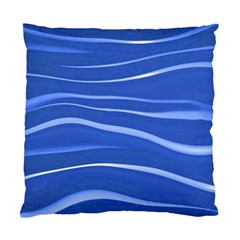 Lines Swinging Texture  Blue Background Standard Cushion Case (one Side) by Amaryn4rt