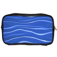 Lines Swinging Texture  Blue Background Toiletries Bags by Amaryn4rt