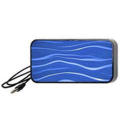 Lines Swinging Texture  Blue Background Portable Speaker (black) by Amaryn4rt