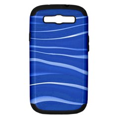Lines Swinging Texture  Blue Background Samsung Galaxy S Iii Hardshell Case (pc+silicone) by Amaryn4rt