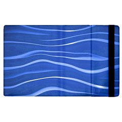 Lines Swinging Texture  Blue Background Apple Ipad 3/4 Flip Case by Amaryn4rt