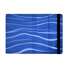 Lines Swinging Texture  Blue Background Apple Ipad Mini Flip Case by Amaryn4rt