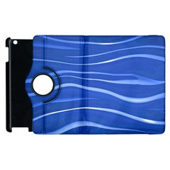 Lines Swinging Texture  Blue Background Apple Ipad 3/4 Flip 360 Case by Amaryn4rt