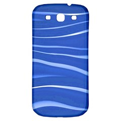 Lines Swinging Texture  Blue Background Samsung Galaxy S3 S Iii Classic Hardshell Back Case by Amaryn4rt
