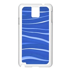 Lines Swinging Texture  Blue Background Samsung Galaxy Note 3 N9005 Case (white) by Amaryn4rt