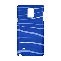 Lines Swinging Texture  Blue Background Samsung Galaxy Note 4 Hardshell Case by Amaryn4rt