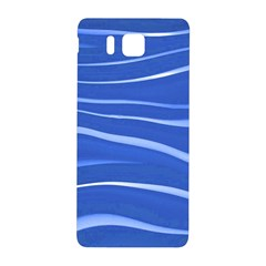 Lines Swinging Texture  Blue Background Samsung Galaxy Alpha Hardshell Back Case by Amaryn4rt