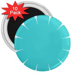 Turquoise Flower Blue 3  Magnets (10 Pack)  by Alisyart