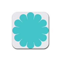 Turquoise Flower Blue Rubber Square Coaster (4 Pack)  by Alisyart