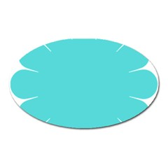 Turquoise Flower Blue Oval Magnet