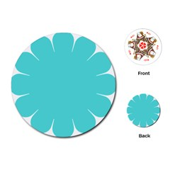 Turquoise Flower Blue Playing Cards (round)