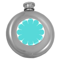 Turquoise Flower Blue Round Hip Flask (5 Oz) by Alisyart
