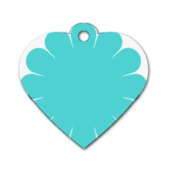 Turquoise Flower Blue Dog Tag Heart (one Side) by Alisyart