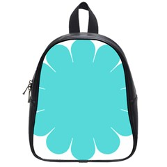 Turquoise Flower Blue School Bags (small)
