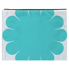 Turquoise Flower Blue Cosmetic Bag (xxxl)