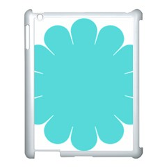 Turquoise Flower Blue Apple Ipad 3/4 Case (white)