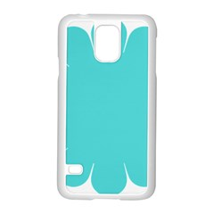 Turquoise Flower Blue Samsung Galaxy S5 Case (white)