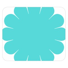 Turquoise Flower Blue Double Sided Flano Blanket (small)  by Alisyart