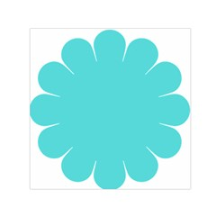 Turquoise Flower Blue Small Satin Scarf (square)