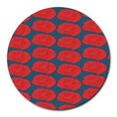 Rose Repeat Red Blue Beauty Sweet Round Mousepads by Alisyart