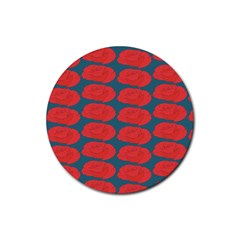 Rose Repeat Red Blue Beauty Sweet Rubber Round Coaster (4 Pack)  by Alisyart
