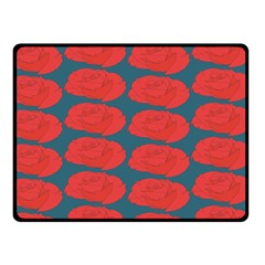 Rose Repeat Red Blue Beauty Sweet Fleece Blanket (small)