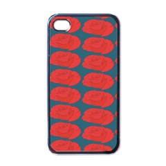 Rose Repeat Red Blue Beauty Sweet Apple Iphone 4 Case (black) by Alisyart