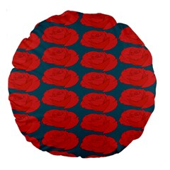 Rose Repeat Red Blue Beauty Sweet Large 18  Premium Round Cushions by Alisyart