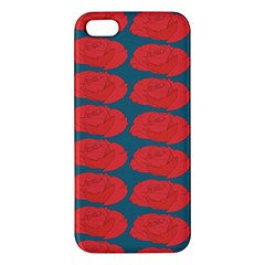 Rose Repeat Red Blue Beauty Sweet Apple Iphone 5 Premium Hardshell Case