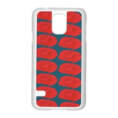 Rose Repeat Red Blue Beauty Sweet Samsung Galaxy S5 Case (white)