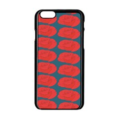 Rose Repeat Red Blue Beauty Sweet Apple Iphone 6/6s Black Enamel Case