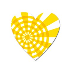 Weaving Hole Yellow Circle Heart Magnet by Alisyart