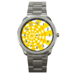 Weaving Hole Yellow Circle Sport Metal Watch