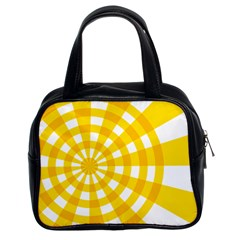 Weaving Hole Yellow Circle Classic Handbags (2 Sides) by Alisyart