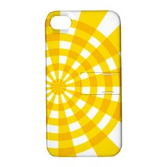 Weaving Hole Yellow Circle Apple Iphone 4/4s Hardshell Case With Stand