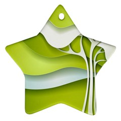 Tree Wood  White Green Ornament (star) by Alisyart