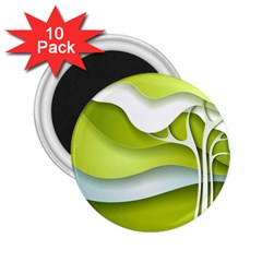 Tree Wood  White Green 2 25  Magnets (10 Pack)