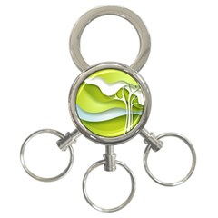 Tree Wood  White Green 3 Ring Key Chains by Alisyart