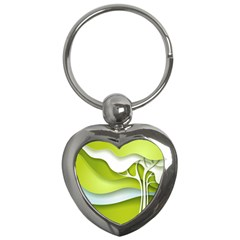 Tree Wood  White Green Key Chains (heart)  by Alisyart