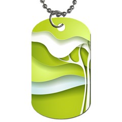 Tree Wood  White Green Dog Tag (one Side)