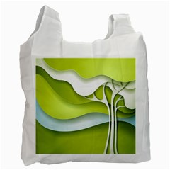 Tree Wood  White Green Recycle Bag (two Side)  by Alisyart