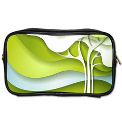 Tree Wood  White Green Toiletries Bags 2 Side