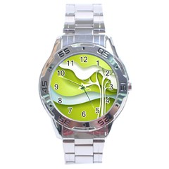 Tree Wood  White Green Stainless Steel Analogue Watch