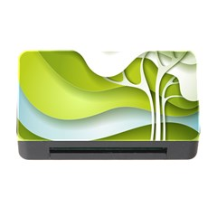 Tree Wood  White Green Memory Card Reader With Cf