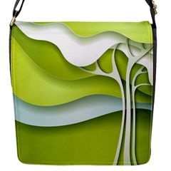 Tree Wood  White Green Flap Messenger Bag (s)